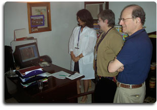 Dr. Hammerschlag with the residents at Cuba's Cochlear Implant Center